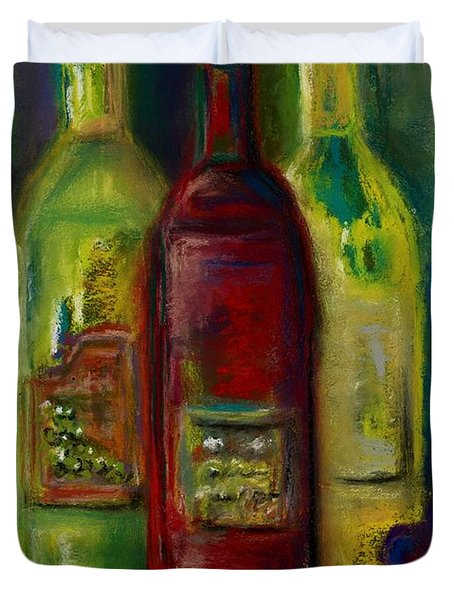 Three More Bottles Of Wine Duvet Cover by Frances Marino