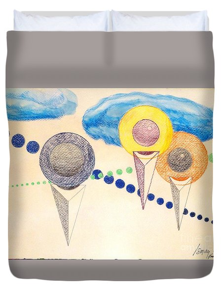 Duvet Cover featuring the painting The Recession Of Depression 2 by Rod Ismay
