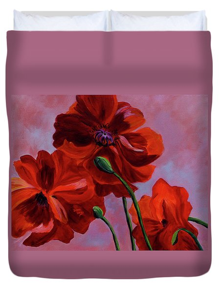 Three Oriental Poppies Duvet Cover