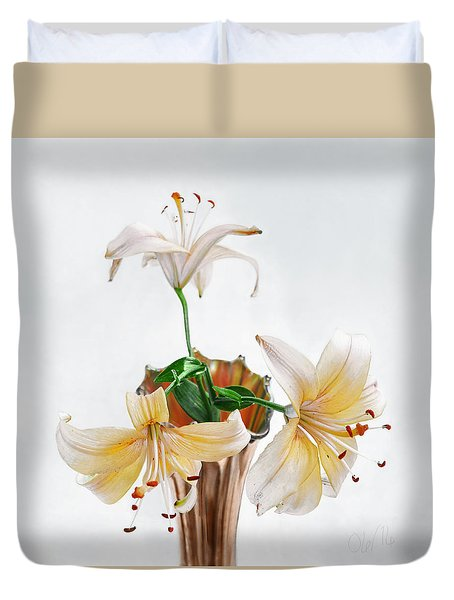 Duvet Cover featuring the photograph Three Pale Gold Lilies Still Life by Louise Kumpf