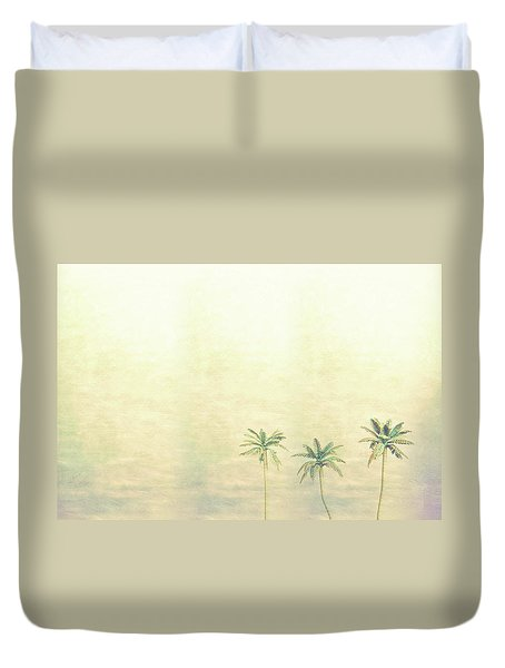 Three Palms In Color Duvet Cover