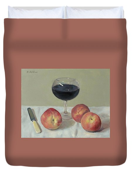 Three Peaches, Wine And Knife Duvet Cover