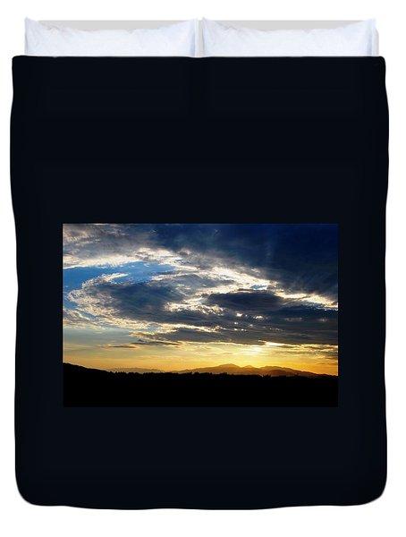 Three Peak Sunset Swirl Skyscape Duvet Cover