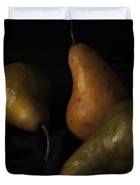 Duvet Cover featuring the photograph Three Pears by Richard Rizzo