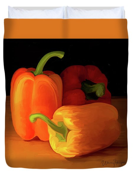 Three Peppers 01 Duvet Cover by Wally Hampton