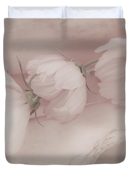 Three Pink Cosmo Flowers Duvet Cover by Sandra Foster