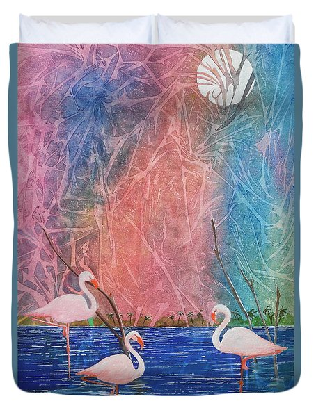 Three Pink Flamingos Duvet Cover by Jackie Mueller-Jones