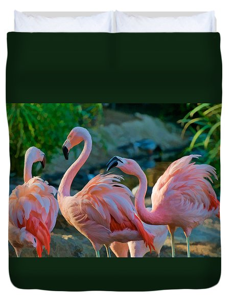 Three Pink Flamingos Strutting Their Stuff Duvet Cover