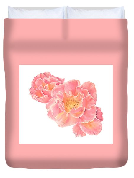 Three Pink Roses Duvet Cover by Elizabeth Lock