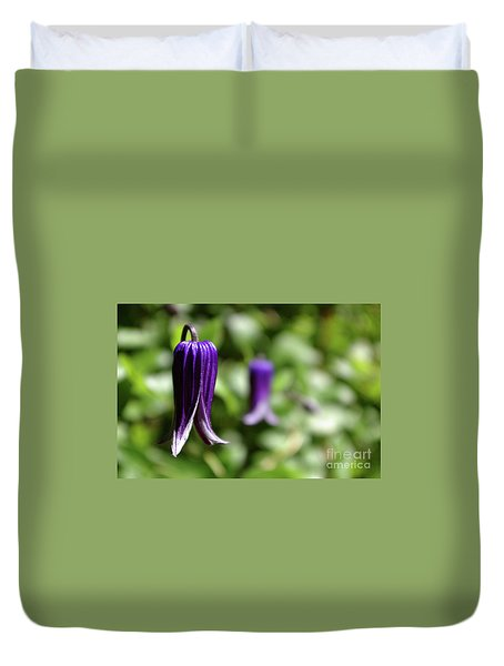 Three Purple Flowers- Leech Botanical Garden Duvet Cover