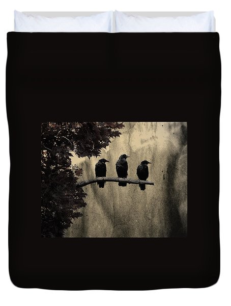 Three Ravens Branch Out Duvet Cover