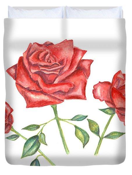 Three Red Roses Duvet Cover