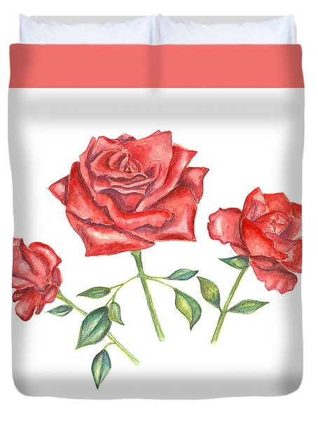 Three Red Roses Duvet Cover
