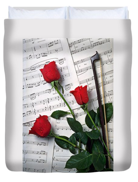 Three Red Roses  Duvet Cover by Garry Gay