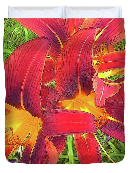 Three Red Tiger Lilies Duvet Cover