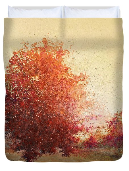 Three Red Trees Duvet Cover