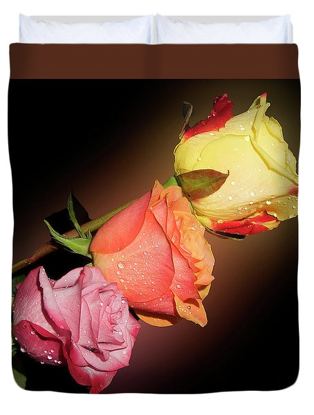 Duvet Cover featuring the photograph Three Roses by Elvira Ladocki
