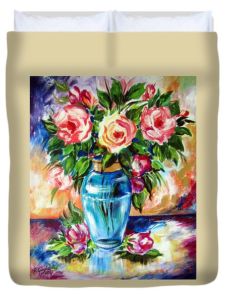 Three Roses In A Glass Vase Duvet Cover