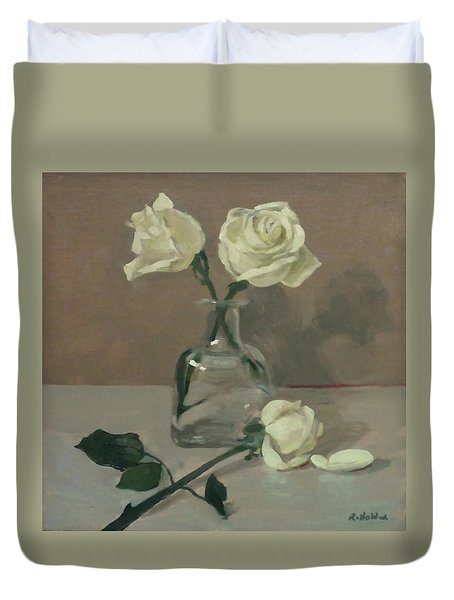 Three Roses In A Tequila Bottle Duvet Cover