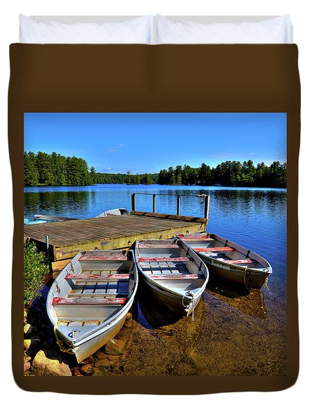 Three Rowboats Duvet Cover by David Patterson