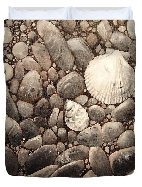 Three Shells Black And White Pattern Duvet Cover