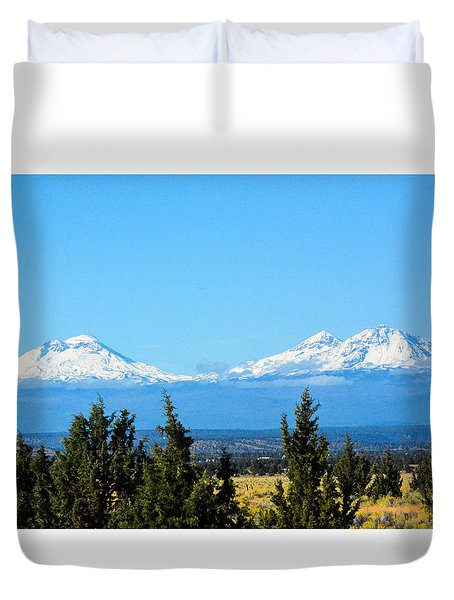 Three Sisters In The Fall Duvet Cover
