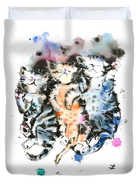 Three Sleeping Kittens Duvet Cover