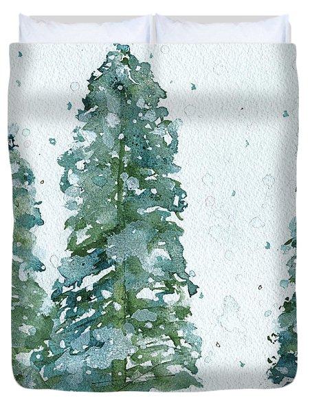 Three Snowy Spruce Trees Duvet Cover