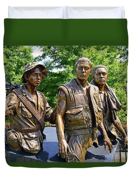Three Soldiers Monument Duvet Cover