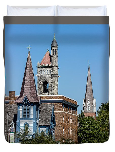 Three Steeples Of St Johnsbury Vermont Duvet Cover by Tim Kirchoff