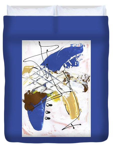 Duvet Cover featuring the painting Three Color Palette Blue 3 by Michal Mitak Mahgerefteh
