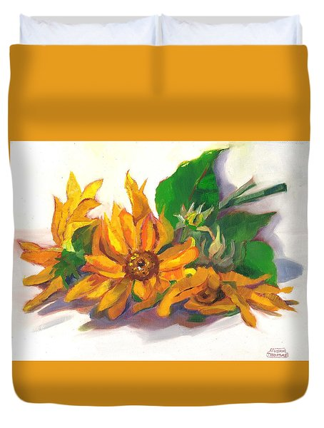 Three Sunflowers Duvet Cover