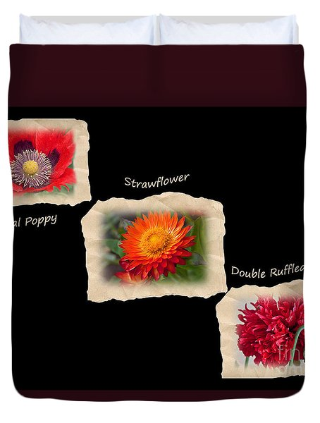 Duvet Cover featuring the photograph Three Tattered Tiles Of Red Flowers On Black by Valerie Garner