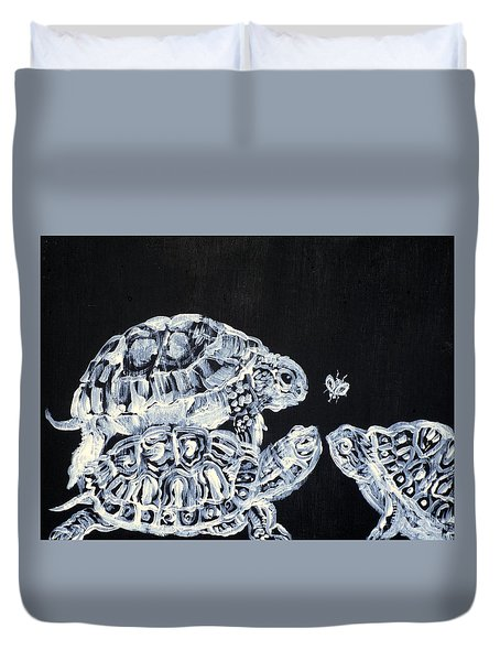 Duvet Cover featuring the painting Three  Terrapins And One Fly by Fabrizio Cassetta