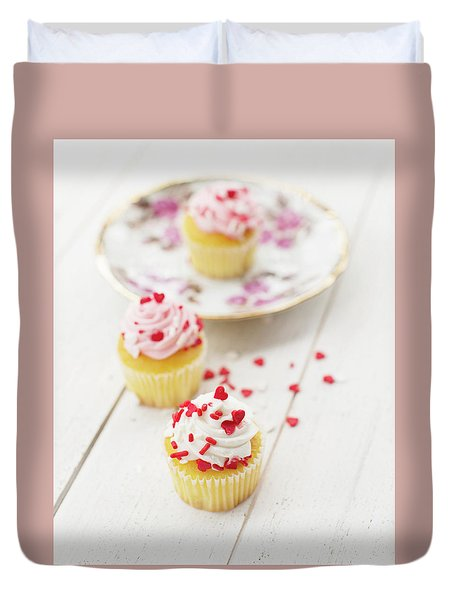 Duvet Cover featuring the photograph Three Tiny Cupcakes by Rebecca Cozart