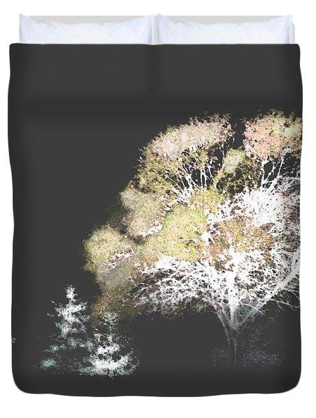 Three Trees In The Dark Duvet Cover