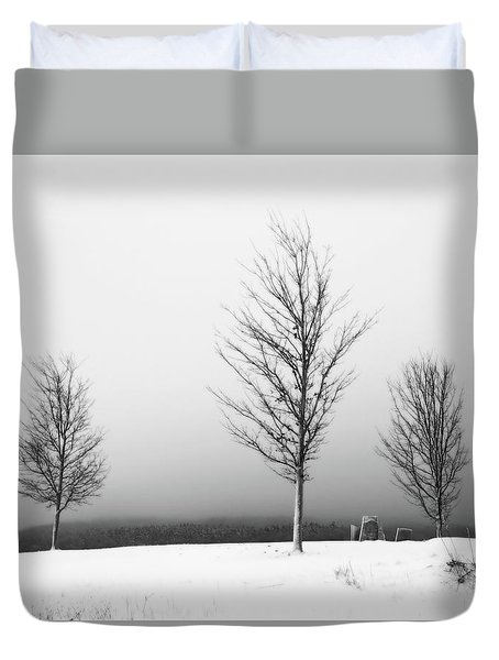 Duvet Cover featuring the photograph Three Trees In Winter by Brooke T Ryan