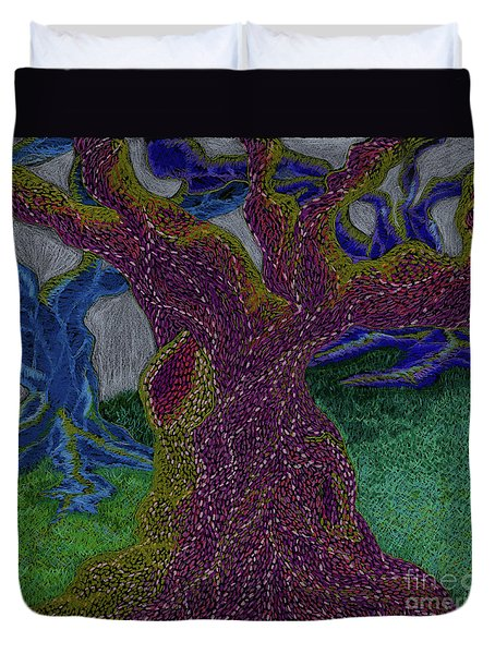Duvet Cover featuring the drawing Three Trees by Kim Sy Ok