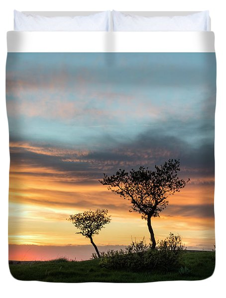 Three Trees On A Hill Duvet Cover