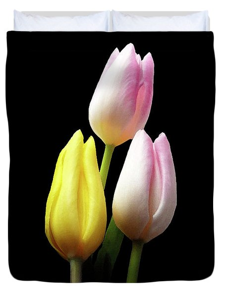 Three Tulips Watercolor Edition Duvet Cover