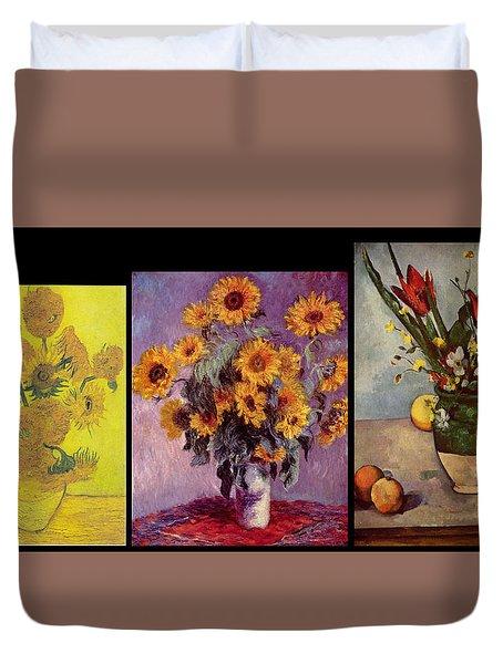 Three Vases Van Gogh - Cezanne Duvet Cover by David Bridburg