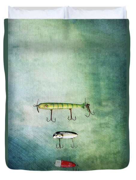 Three Vintage Fishing Lures Duvet Cover