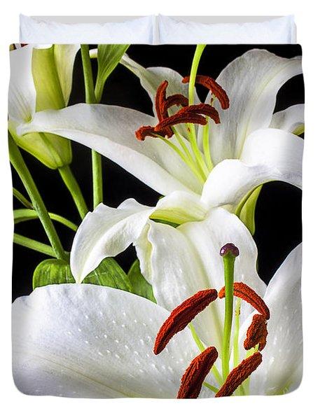 Three White Lilies Duvet Cover