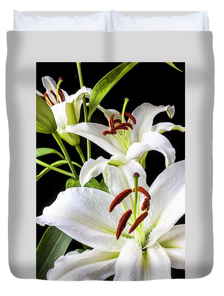 Three White Lilies Duvet Cover
