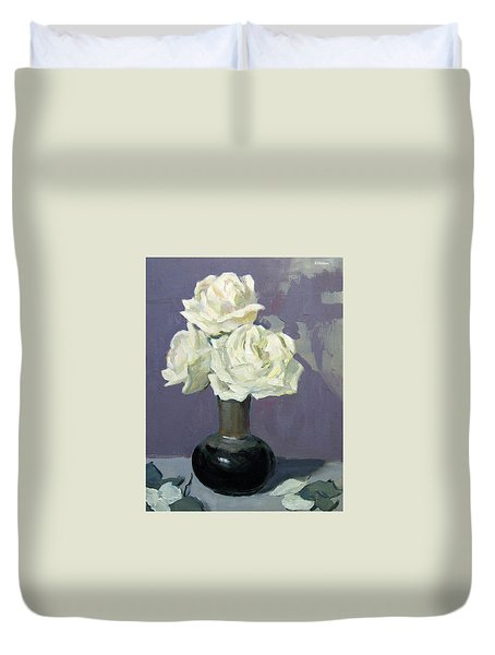 Three White Roses,abstract Background Duvet Cover