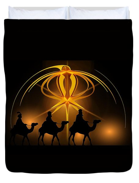 Three Wise Men Christmas Card Duvet Cover