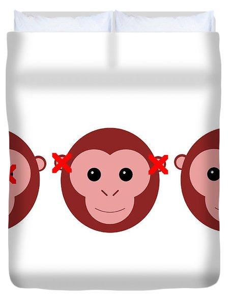 Three Wise Monkeys Duvet Cover
