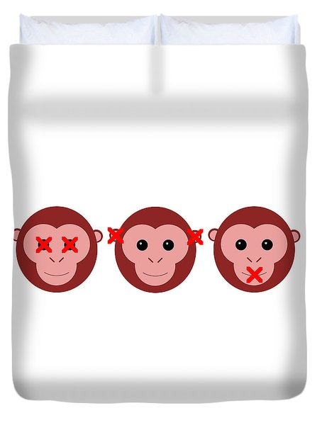 Three Wise Monkeys Duvet Cover by Richard Reeve