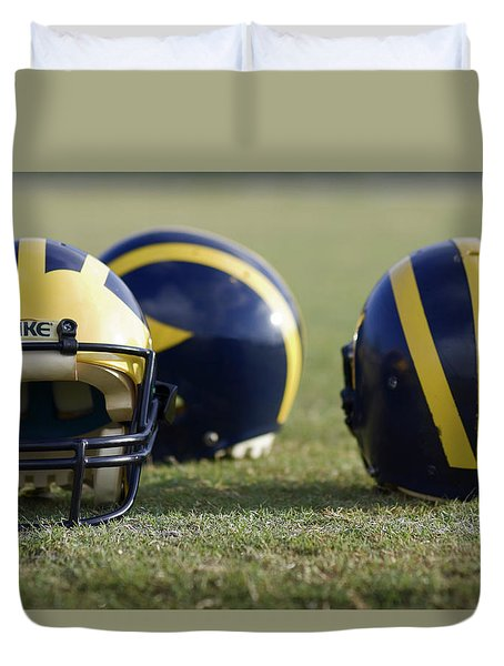 Three Wolverine Helmets Duvet Cover