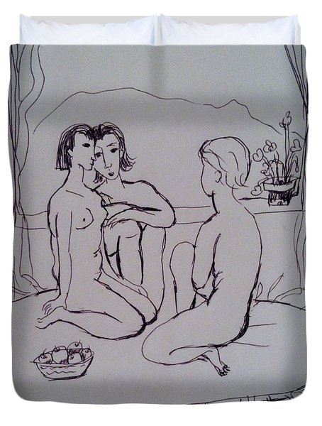 Three Woman Nude Duvet Cover